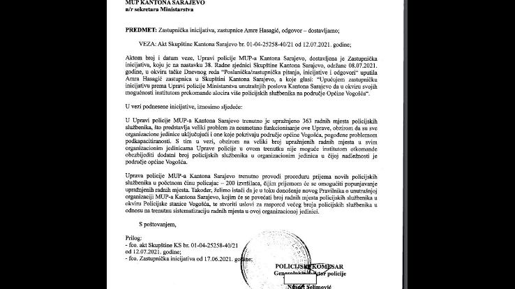 Faksimil odgovara policijskog komesara Nusreta Selimovića