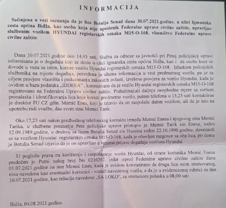 Informacija o pucnjavi ispred kuće Memića