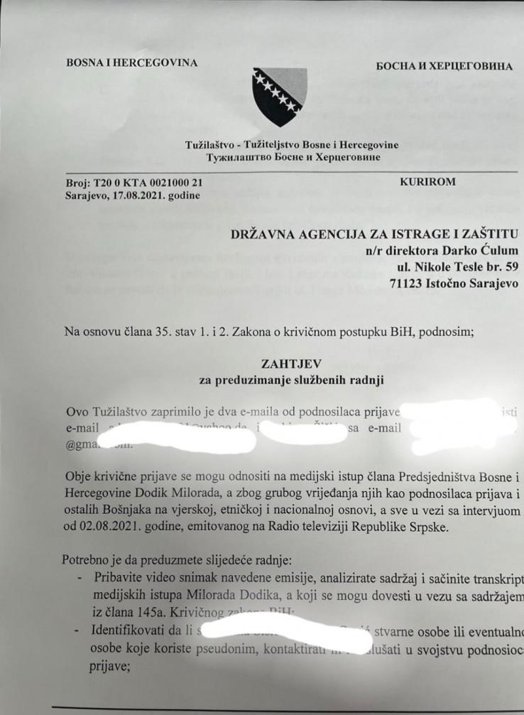 Naredba Tužilaštva BiH upućena SIPA-i 17.avgusta