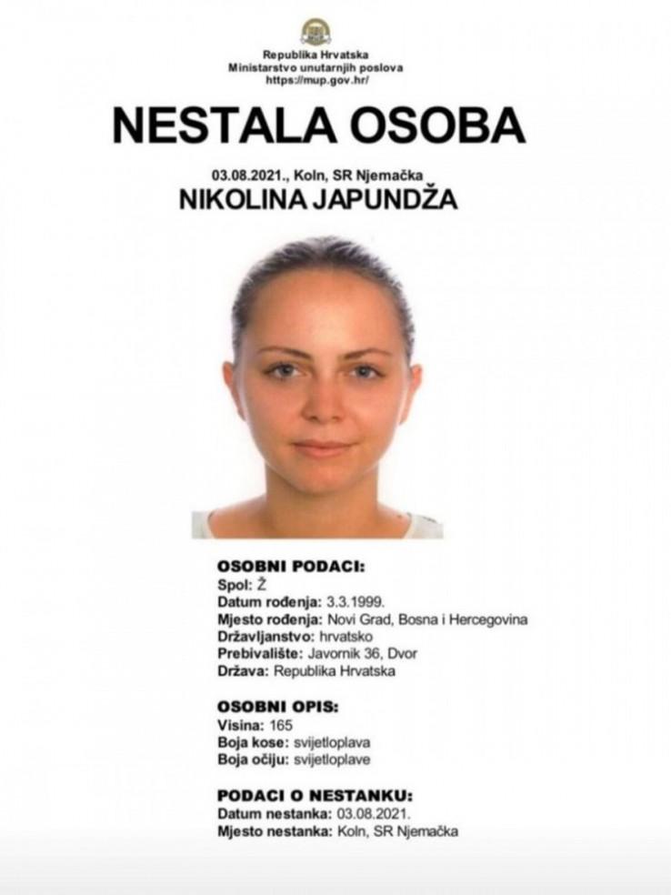 Podaci o nestaloj objavljeni na stranici MUP-a RH