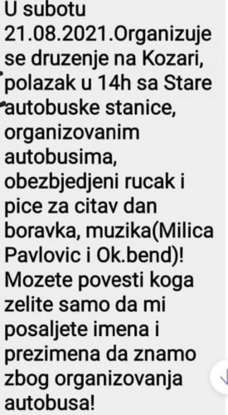 Jedna od poruka koju je objavio Vukanović