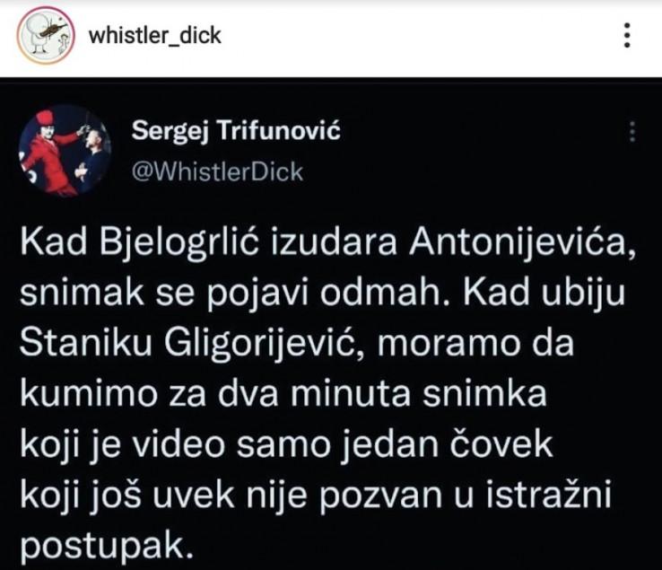 Tweet Sergeja Trifunovića