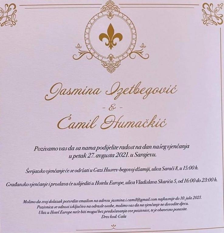 Pozivnica za vjenčanje Jasmine Izetbegović i Ćamila Humačkića