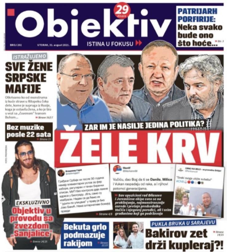 Naslovna strana tabloida Objektiv