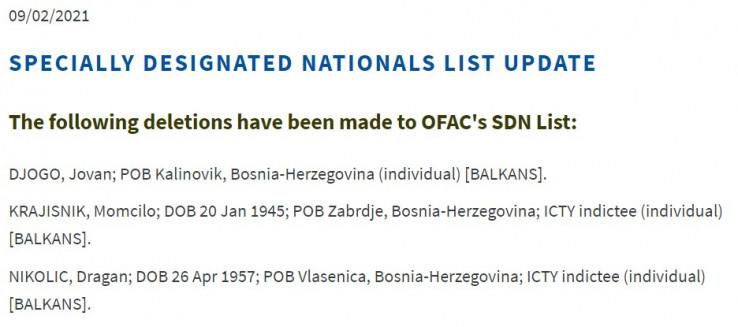 Sa liste uklonjeni Jovan Đogo, Momčilo Krajišnik te Dragan Nikolić