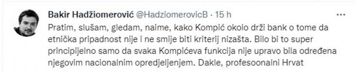 Objava Hadžiomerovića na Twitteru