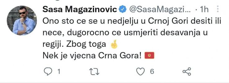 Faksimil Magazinovićevog tvita