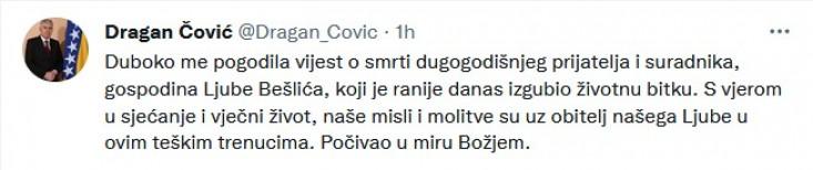 Status koji je Čović objavio na Twitteru