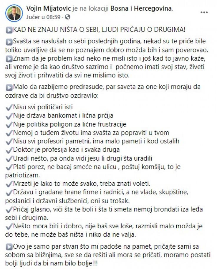 Objava Vojina Mijatovića na Facebooku