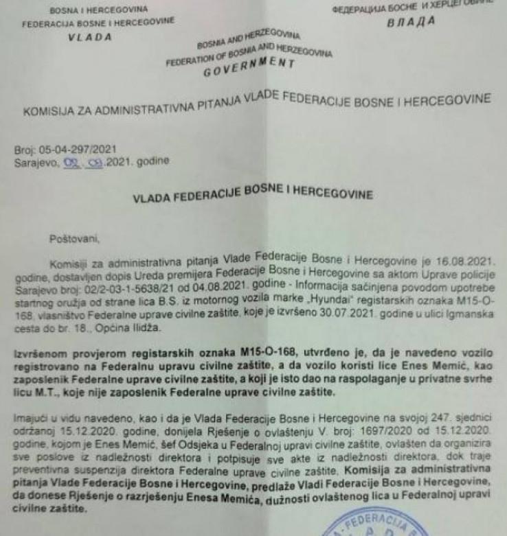 Administrativna komisija poslala zahtjev Vladi FBiH