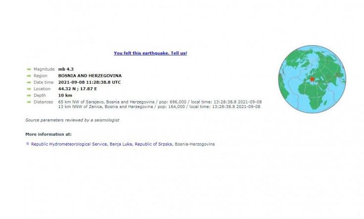 Prema prvim informacijama EMSC-a, zemljotres je bio 4,3 stepena po Richteru