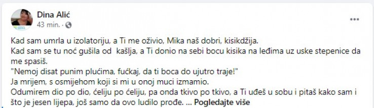 Emotivni post Dine Alić