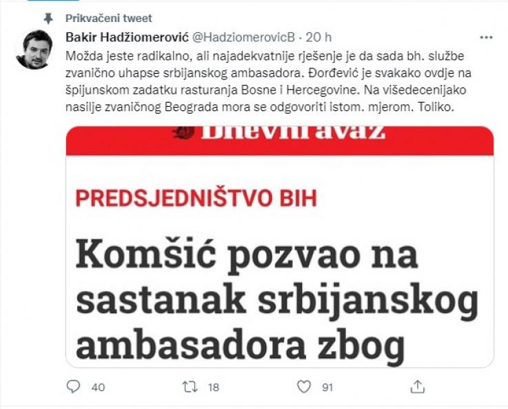 Faksimil Hadžiomerovićevog tvita