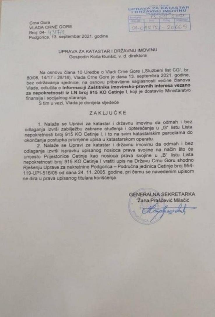 Zaključci Vlade Crne Gore