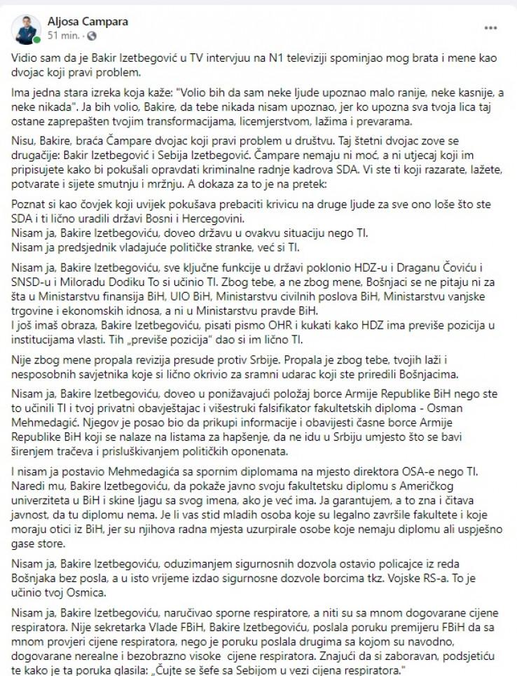 Facebook komentar Aljoše Čampare