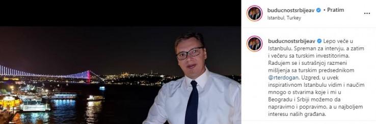 Objava Vučića na Instagramu