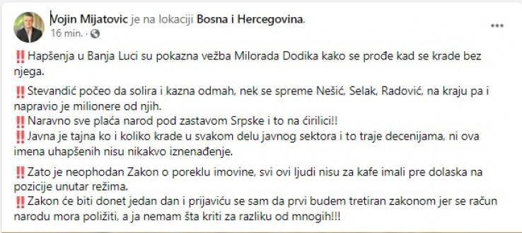 Komentar Vojina Mijatovića