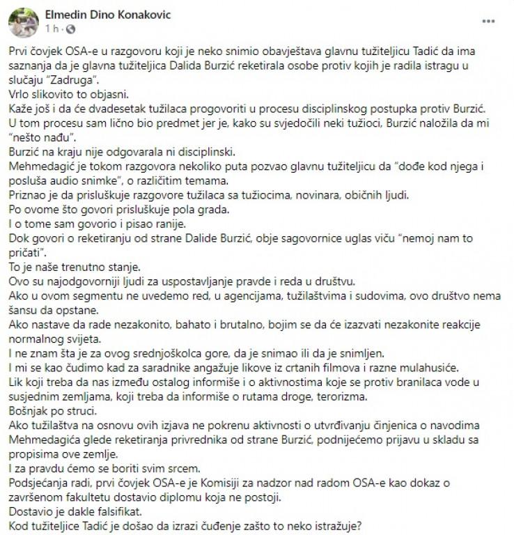 Status na Facebooku Elmedina Konakovića