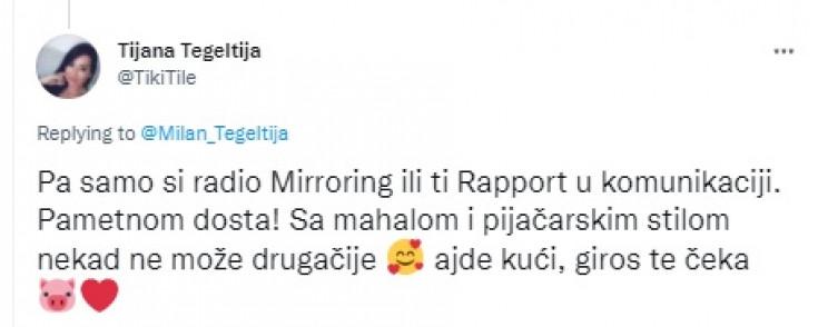 Tvit Tijana Tegeltije