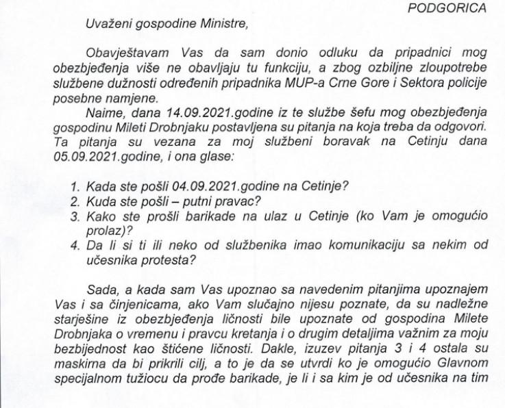 Dopis koji je Katnić uputio Sekuloviću