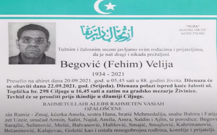 Velija Begović preminuo u 88. godini života