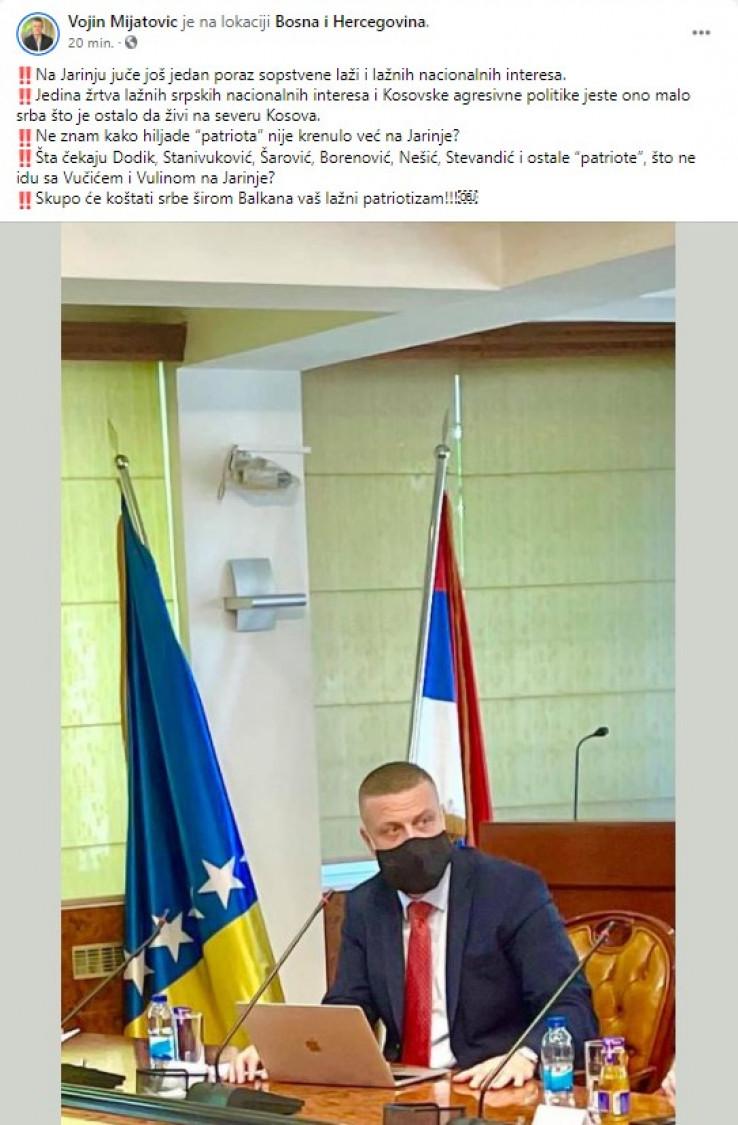 Faksimil Mijatovićevog statusa