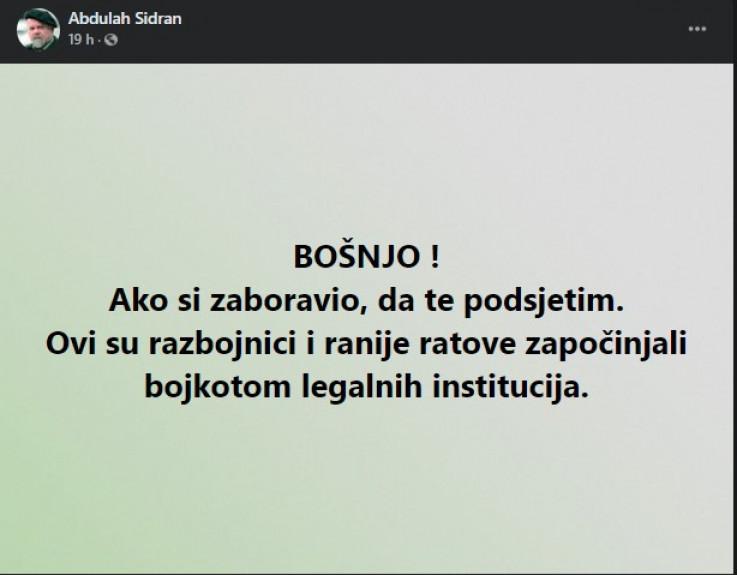 Sidranov status na Facebooku