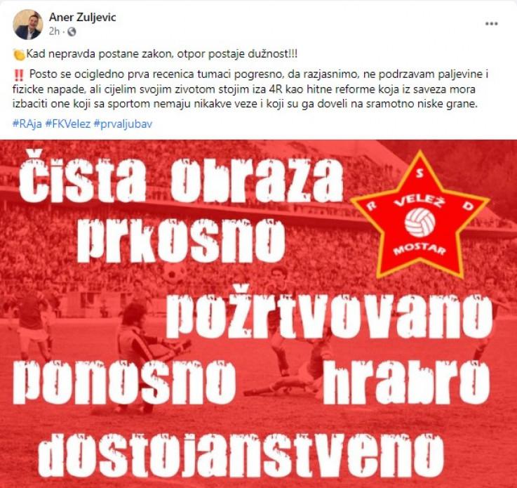 Faksimil Žuljevićevog posta