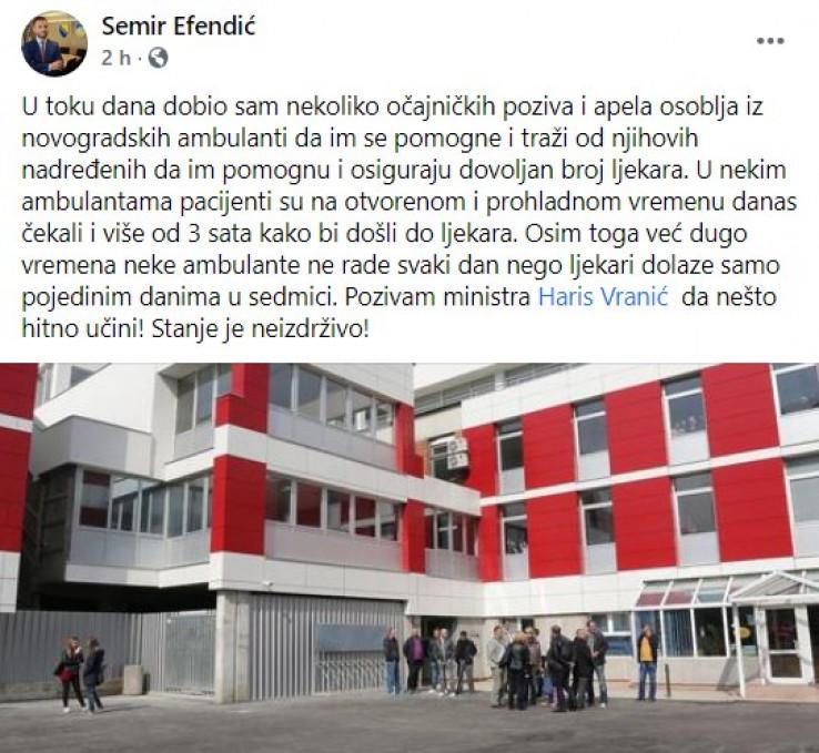 Objava Efendića na Facebooku