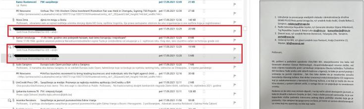 Mailovi stigli 17.septembra na adresu portala Avaz.ba