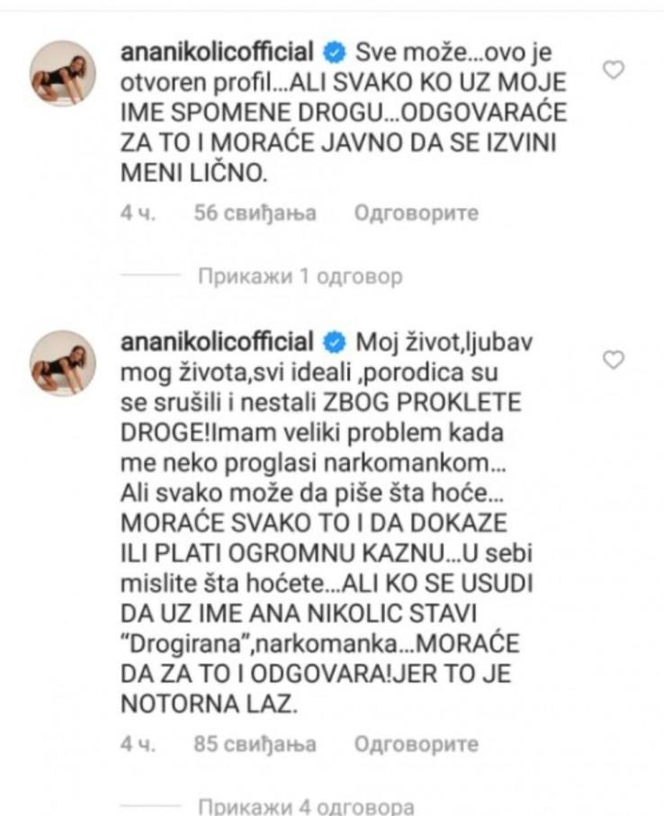 Ana Nikolić reagirala na prozivke