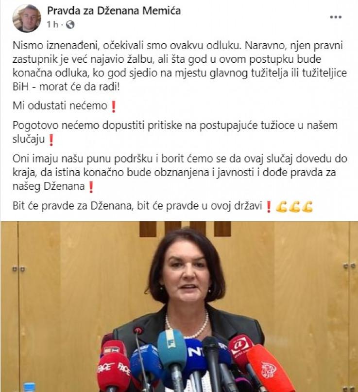 "Objava grupe ""Pravda za Dženana Memića"" na Facebooku"