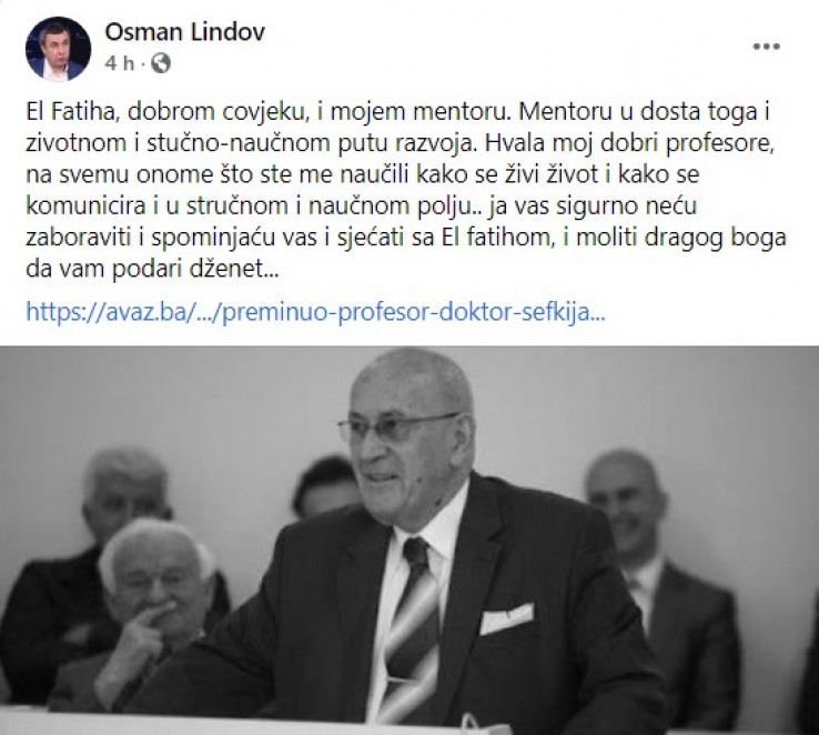 Objava Profesor Osman Lindova na Facebooku