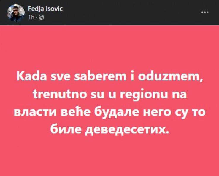 Objava Feđe Isovića na Facebooku