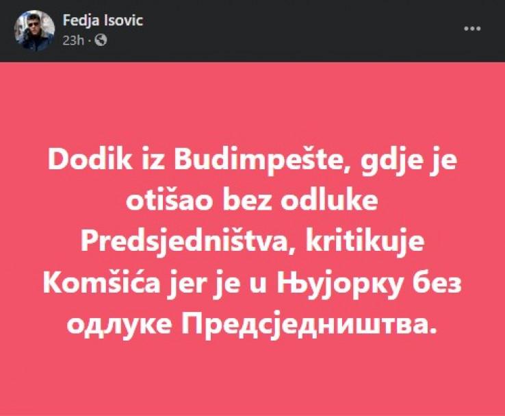 Isović komentirao putovanja bh. zvaničnika
