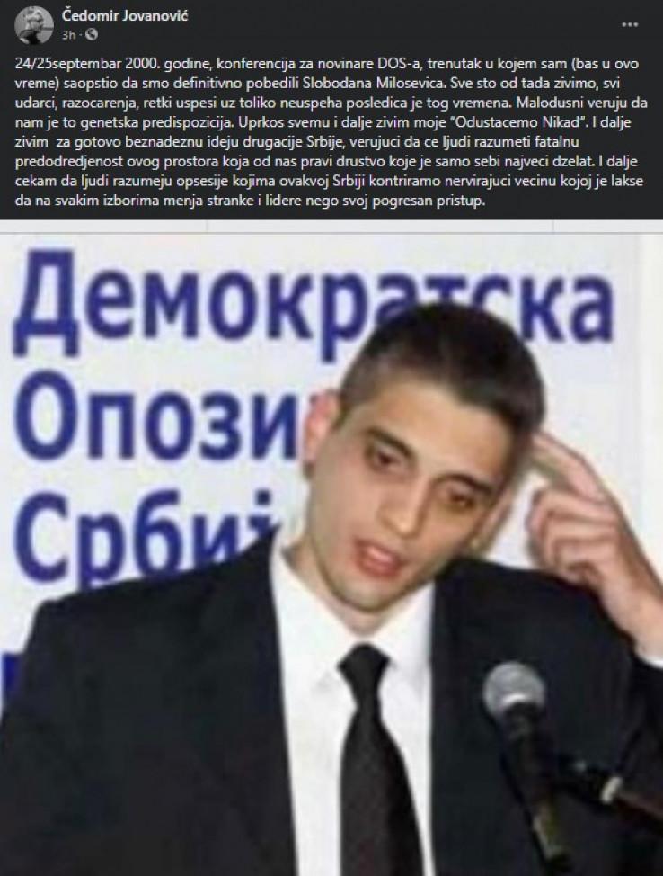 Objava Čedomira Jovanovića na Facebooku