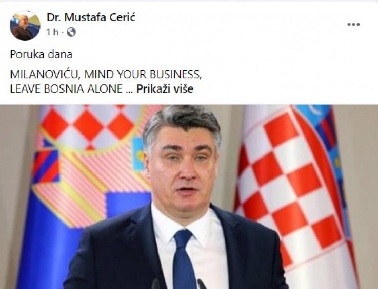 Objava Mustafe Cerića na Facebooku