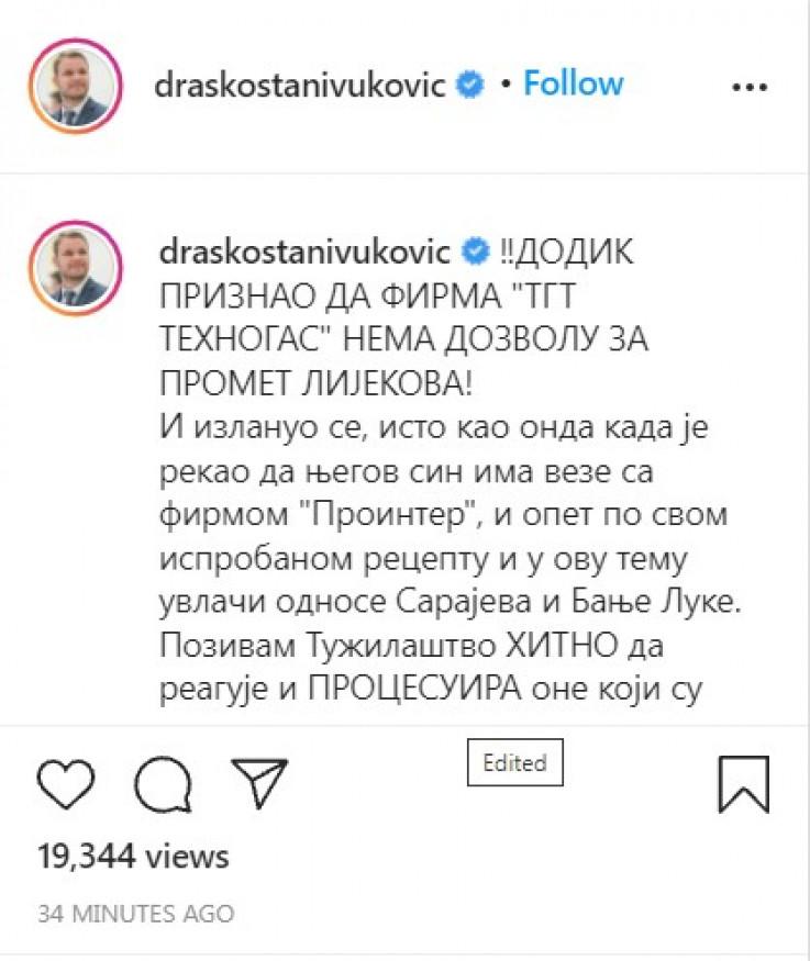 Objava Stanivukovića na Instagramu