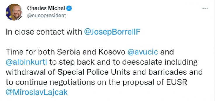 Objava Mišela na Twitteru