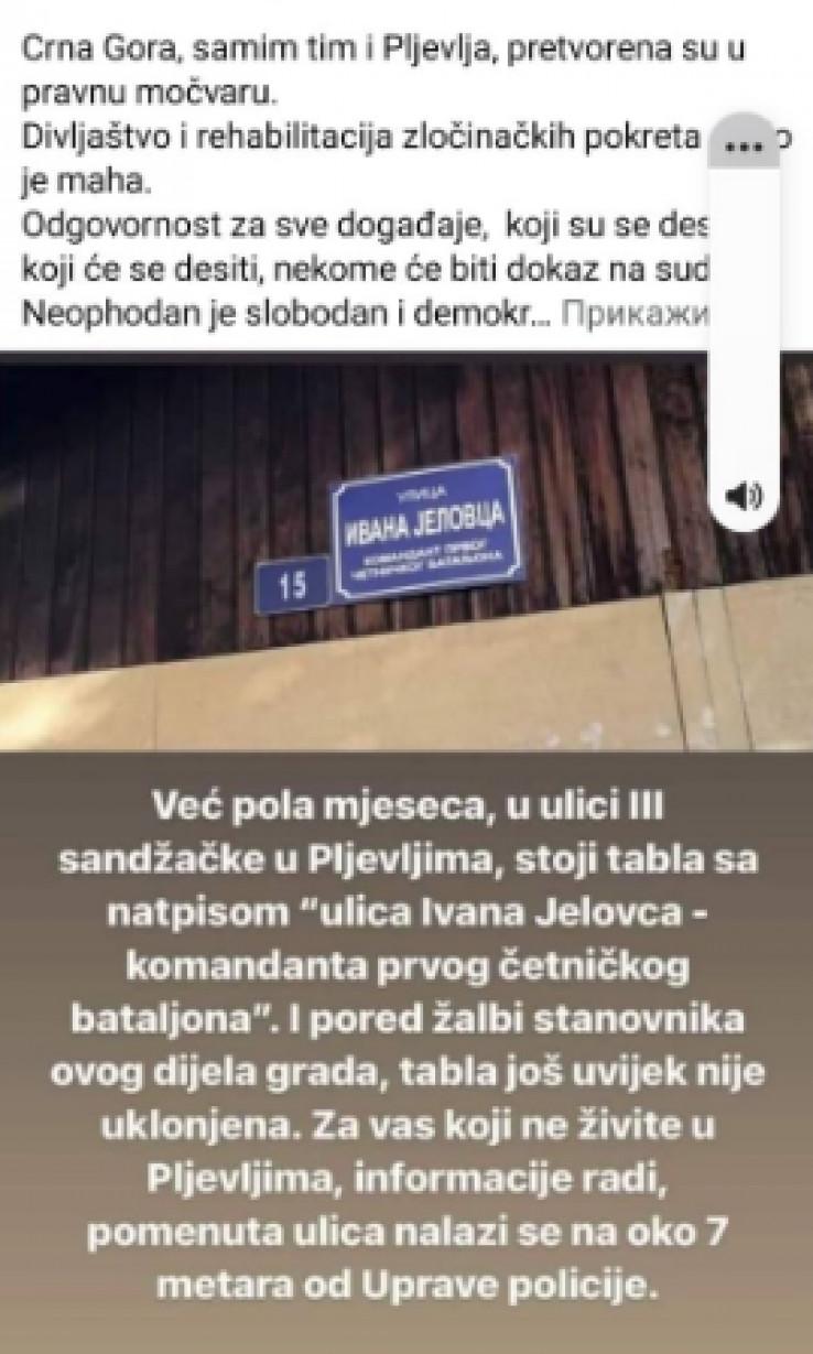 Čitaoci poslali fotografiju na kojoj je tabla sa nazivom ulice Ivana Jelovca, komandanta četničkog bataljona