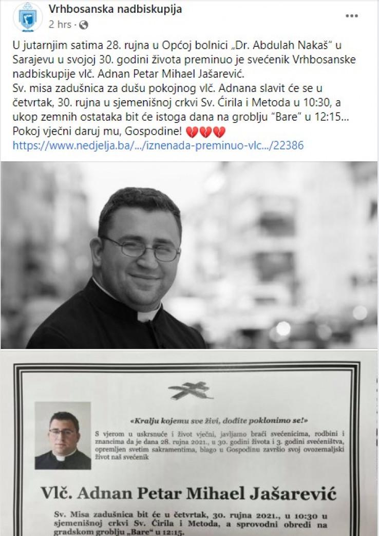 Ovu informaciju je potvrdila Vrhbosanska nadbiskupija na svom Facebook profilu