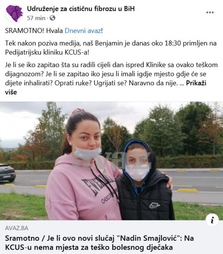 Status Udruženja za cistričnu fibrozu BiH