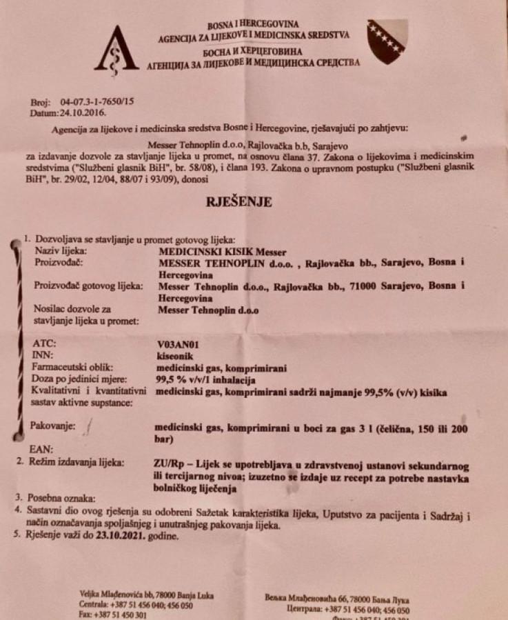 Rješenje Agencije za lijekove i medicinska sredstva BiH