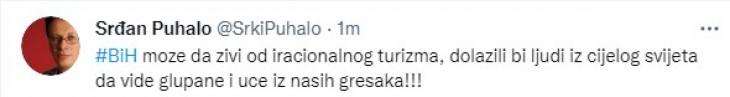 Objava Puhala na Twitteru