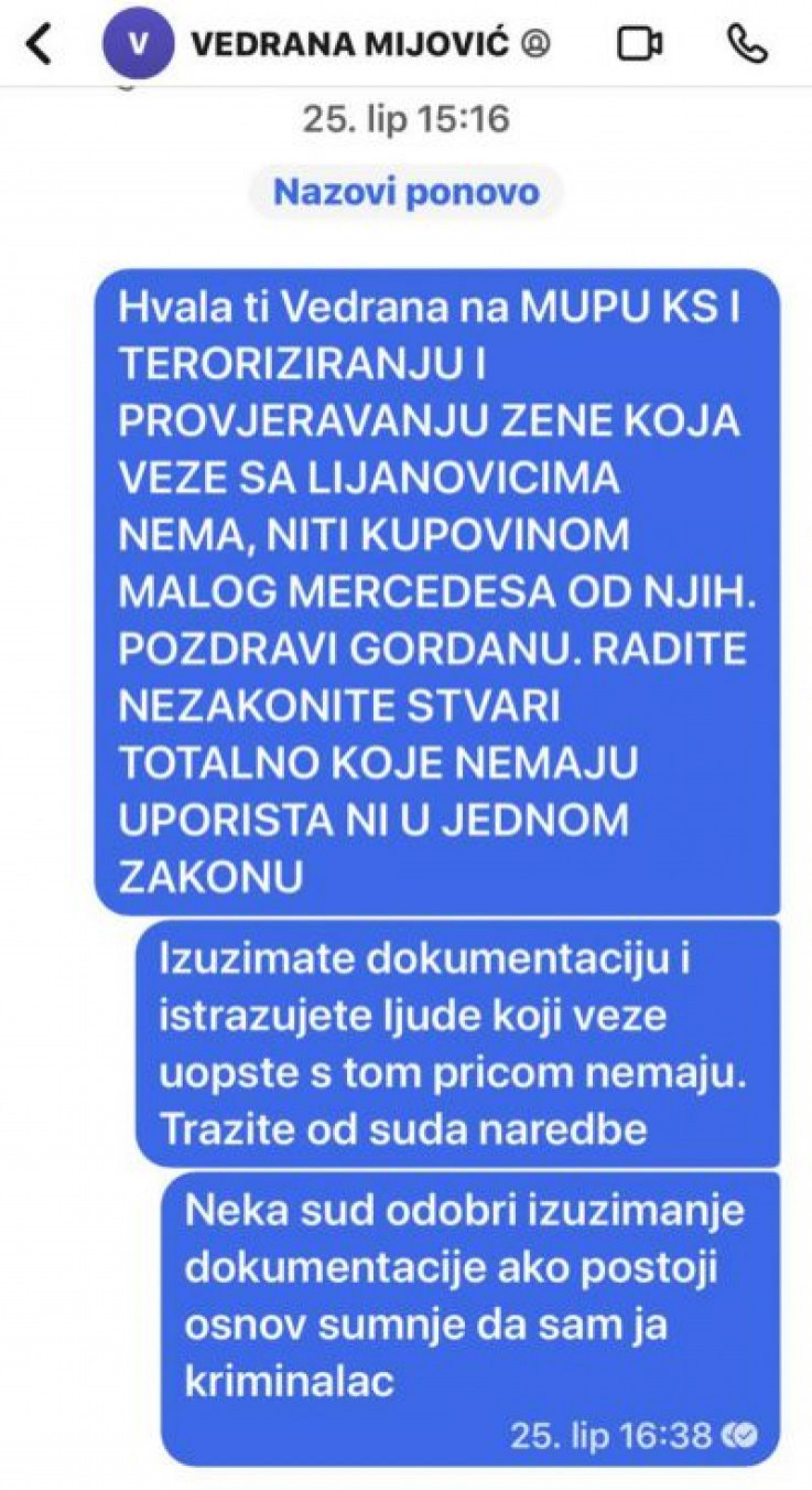 Messages that he sent to prosecutor Mijović