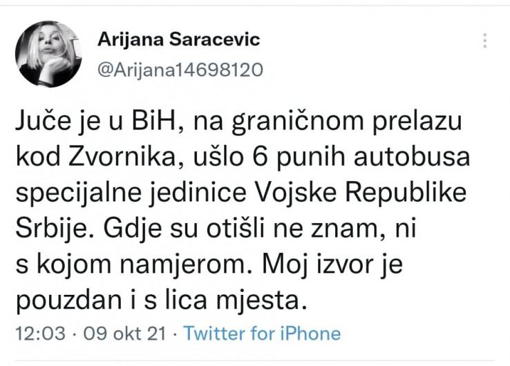 Objava Arijane Saračević