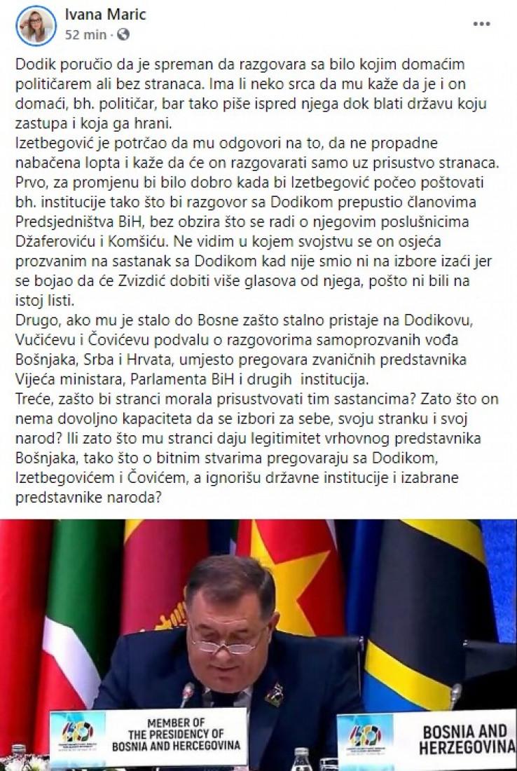 Objava Marić na Facebooku