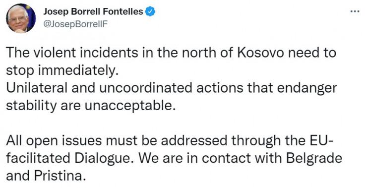 Objava Žozefa Borelja na Twitteru