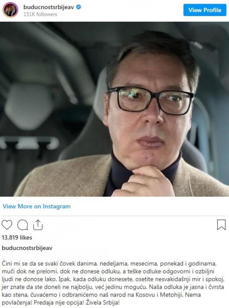 Status Aleksandra Vučića na Instagramu
