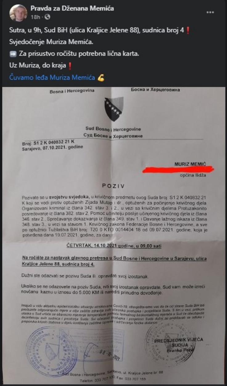 """Objava na grupi """"Pravda za Dženana Memića"""""""